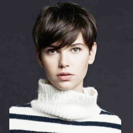 pixie cut human hair wigs NZ - Chic Brazilian Short Straight Human Cut Hair Wigs Pixie Natural Human Short Hair Wigs for Black Women Glueless Full Lace Wigs