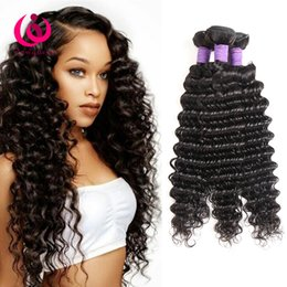 Virgin Hair Extensions Brand Canada - 8A Brazilian Deep Wave Hair Weave Bundles 4pcs lot Wow Queen Brand Cheap Wholesale Price Unprocessed Brazilian Virgin Human Hair Extensions