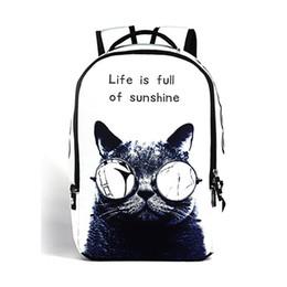 man fashion school back pack 2019 - Wholesale- 2016 women backpack 3d cartoon cat backpack back to school College backpack New fashion men travel print bag