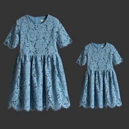 mother daughters party dresses NZ - 7 Colors Mother Daughter Dresses 2020 Summer Mom and Me Lace Matching Dress Mother and Maughter Clothes for Party Kids Years Wear S072