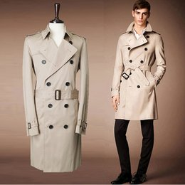 Abrigos Largos Con Estilo Baratos-Al por mayor-Free PP elegante para hombre largo Trench Coat Moda Inglaterra Men Jacket doble botón delgado Trench Beige y Navy XXL PLUS