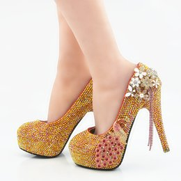 85ac0814a0e0 5 8 11 14CM Cinderella Shoes Gold Fully Beaded Phoenix Bridal Bridesmaid  Wedding Shoes Hand-made Prom Evening Party High Heels 118