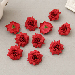 Discount diy silk rose brooch - 4.5cm Silk Cloth Rose Head Artificial Flowers DIY Wedding Decoration Flower Head Brooch Multicolor Craft Ornaments