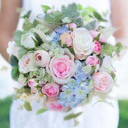 modabelle Bouquet da sposa Rosa rosa verde foresta stile ortensia blu bouquet da sposa fiori artificiali per la decorazione