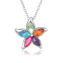 $enCountryForm.capitalKeyWord UK - Free shipping Five leaf flowers Austrian crystal short necklace most beautiful flowers WFN105 (with chain) mix order 20 pieces a lot