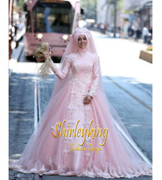 New Muslim Long Sleeves Wedding Dresses High Neckline Tulle with Appliques Beads Zipper Back 2017 Bridal Gowns Custom