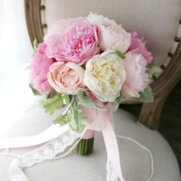 CHarming Pink Peony Bridal Bouquets Holding Brooch Flowers 2017 Artifical Exquisite Cheap Wedding Decoration Artificial Bridesmaid