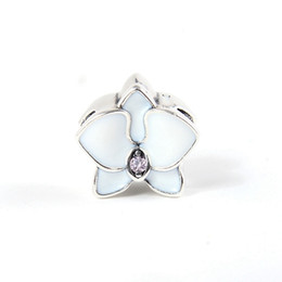 Chinese  Orchid White Enamel flower charms S925 sterling silver fits for pandora style bracelet free shipping H8 manufacturers