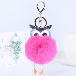 faux fur ball keychain UK - Faux Rabbit Fur Owl Keychain for Women Bag Pendant Keyring Faux Rabbit Fur Gift Fashion Jewelry Accessories