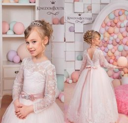 Brand New Flower Girl Dresses com mangas compridas Lace Communion Party Pageant Dress para Little Girls Kids / Child Dress for Wedding