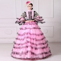 $enCountryForm.capitalKeyWord Canada - 100real luxury pink black lace carnival bubble ruffle court medieval dress princess queen cosplay gown ball long dress ball gown