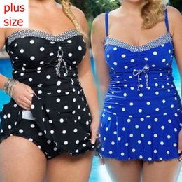 Barato Dot Swimdress-Plus-size Women's Retro Polka Dot Tankini Swimwear Two Pieces Swimsuit