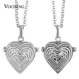 harmony necklaces UK - Harmony Chime Filled Heart Necklace for Lover Copper Metal 2 Colors Plated with Stainless Steel Chain VOCHENG VA-254