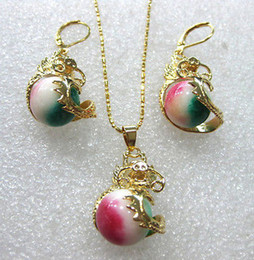 Cheap Red Jewelry Sets NZ - Wholesale cheap 6 colors!12mm green pink colorful jade  red agate dragon earring pendant set