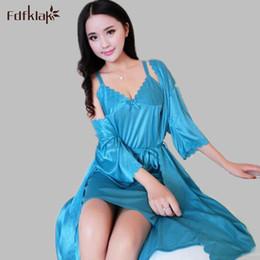 62c9871cae Silk night robe Set online shopping - Fdfklak Sexy Women Robe Gown Set  Summer Fashion Faux