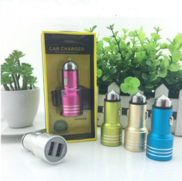 Chinese  With Retail Package Box Aluminum Dua USB Car Charger Auto 2.4A 1A Short Circuit Protection Safe Hammer Break Car Glass manufacturers
