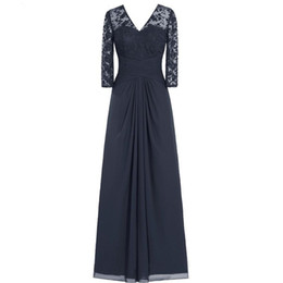 $enCountryForm.capitalKeyWord UK - 2019 New Arrival Elegant Mother Of The Bride Dress A-Line V-Neck 3 4 Long Sleeve Lace Appliques Zipper Floor-Length Chiffon Real Photos