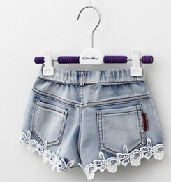 $enCountryForm.capitalKeyWord Canada - Summer Children Denim Shorts Korean Girl Lace Shorts Kid's Jeans Hot Pants 100-140 Size 5pcs lot Factory Sale Child Clothing