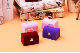 Portable Display Cases Wholesale Canada - [Simple Seven] Lovely Portable Box Rings Display Plastic Flocking Love Necklace Box Earring Ear Stud Case Jewelry Gift Container