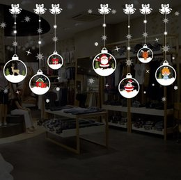 Chains For Mirrors Australia - Christmas Wall Stickers Christmas Crystal Ball Chain Santa Claus Christmas Tree Removable Wall Sticker For Show Window Decoration