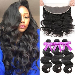 $enCountryForm.capitalKeyWord Canada - Hair factory direct supply 100g pcs Indian human hair 3 bundles with one lace frontal virgin human hair body weave