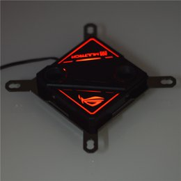 Black Blocks Canada - Wholesale- For Intel LGA 115X 1366 black and white computer CPU water cooling Block breathing LED light 60*60MM copper base