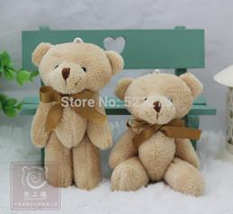 Al por mayor-T108 Envío gratis 24pcs / lot Promoción 12CM pajarita marrón oso de peluche mini conjunta felpa llavero oso ramo juguete / teléfono colgante