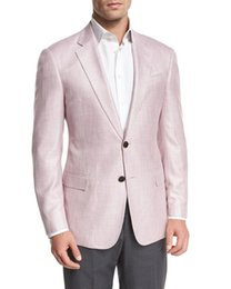 Barato Azul Real Mais Rosa-2017 Handsome Blush Pink se separa smoking Casamento Custom Made Side Vent Plus Size Formal Tuxedo Mens Suit