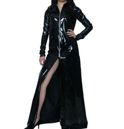 Chinese  Cosplay Halloween Costumes Black patent leather PVC sexy Front open sexy skirt Halloween dresses manufacturers