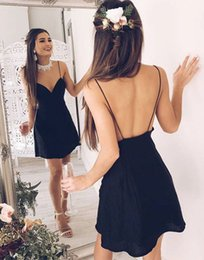 Discount chic short prom dresses - 2018 Short Backless Navy Blue Cocktail Dress Chic V-neck Stylish Spaghetti-Straps Homecoming Prom Party Dress