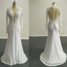 Chinese  2016 New Sexy Wedding Dresses Applique Beads Covered Buttons Mermaid Crew Cap Sleeves Backless Court Train Chiffon Wedding Dresses Dhyz 01 manufacturers
