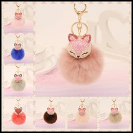 Barato Raposa De Coelho Artificial-Lovely Rhinestones Fox Artificial Fox Rabbit Fur Ball Chaveiro 21 Styles Keychain Bag Colchão de suspensão de carro