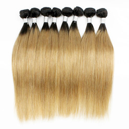 China Colored Peruvian Hair 400g Silky Straight T1B 27 Blonde Ombre Hair Short Bob Style Straight Virgin Human Hair Weaves cheap blonde indian silky hair weft suppliers