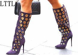 $enCountryForm.capitalKeyWord Canada - LTTL Sexy Women Knee High Boots Cut-outs Polka Dot Boots Pointed Toe High Heel Women Suede Shoes Fashion Gold Holes Boots