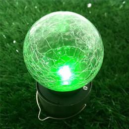Discount glasses change color - Solar Power led light Color Changing ball Crackle Glass LED Light outdoor Decoration led light