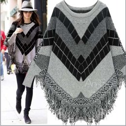 Loose crochet shawL online shopping - Warm Knitted Sweater Shawl with Tassel Crew Neck Long Sleeve Loose Leisure Sweaters Outwear Coats