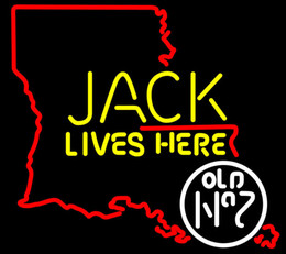 China Fashion New Handcraft Jack Lives Here Louisiana Real Glass Beer Bar Pub Display neon sign 19x15!!!Best Offer! suppliers