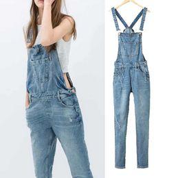 0fcad506388d Wholesale- 2016 Spring Denim Jumpsuits Women s Overalls Pants Ladies  Jeans  Gallus Female Ripped Hole Ladies Cowboy Slim Casual Romper Plus