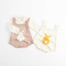 pink overalls for girls 2019 - Boutique Baby girl clothes Bunny Knit Romper Strap overall Button romper for Infants 2017 Autumn Spring Summer Hotsale 0