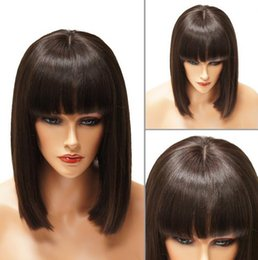 Front Wigs Canada - New Arrival Short Human Hair BOB Wig Virgin Brazilian Hair Lace Front Wig with Bangs Free Shipping