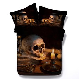 Chinese  Wholesale-New Arrival!! Tencel sheets Cool Unique 3D skull and candle light bedding sets single bed super king size skeleton duvet cover manufacturers