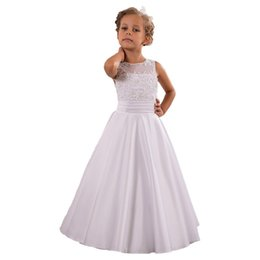 $enCountryForm.capitalKeyWord Canada - 2017 New Arrival Satin Beaded Appliques Flower Girl Dresses Hand Made Pretty Puffy White Communion Dresses Floor Length Kids Baptism Gowns