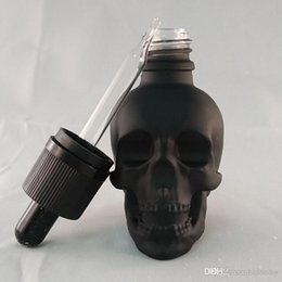 online shopping 30ml frosted black mini glass skull bottle cosmetic e juice dropper bottle with glass pipette lid rubber topper bottle