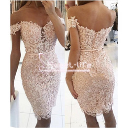 Modest Short 2020 Sheath Homecoming Dresses Off Shoulder Sleeveless Full Lace Knee Length Cocktail graduation Dresses on Sale