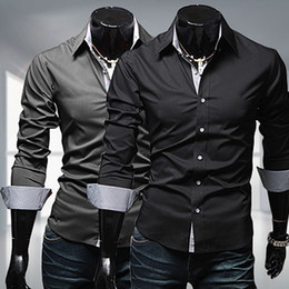 herrenhemden großhandel-Großhandels Men s Stylish Slim Fit Langarm Kleid Shirt Casual Tee Tops Business Shirts