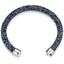 Wholesale Made With Crystals from Swarovski Elements Rolled Rocks Cuff Bangle Womens Bracelet Jewelry Fashion Female Birthday Gift