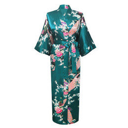 gold robes wholesale 2019 - Wholesale- High Quality Green Female Rayon Robe Kimono Bath Gown New Style Chinese Women's Summer Nightgown Size S