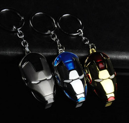keychain packaging Canada - Hot 3Color The Avengers Iron Man Keychain Metal Alloy Mask Key Ring For Keys Accessory Blister Package