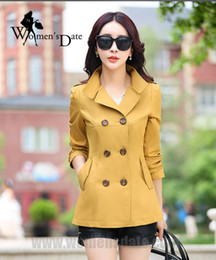 Doble Pecho Amarillo Baratos-WomensDate Women Yellow Slim Short Trench Coat 2017 Otoño Fashion Long-sleeved Double-breasted Mujeres Trench Coat