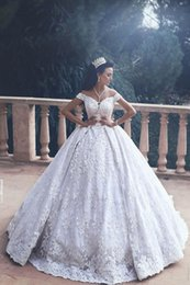 China Said Mhamad 2017 Gorgeous Lace Wedding Dresses Off Shoulder Appliques Court Train Bridal Gowns Wedding Party Custom Made cheap mhamad wedding dresses suppliers